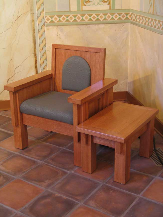 Custom presiders chair and table, St Catherines, Laguna Beach CA