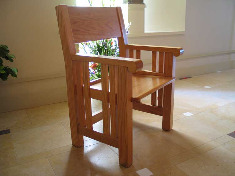 Custom maple presiders chair, Church of The Nativity Wedding Chapel, Rancho Santa Fe, CA