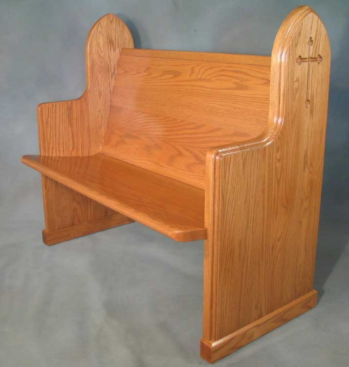 Pew body #720 - shown with pew end #324 with optional edge routing and cross