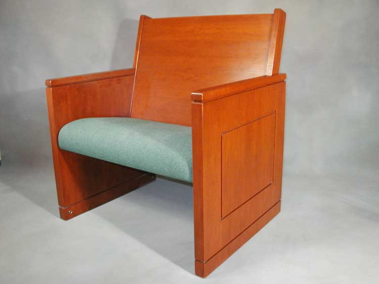 Pew Body #820, Shown In Solid Cherry With Custom Pew End